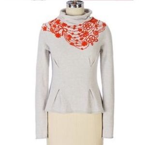 Anthropologie Moth Fire Flower Cowl Neck Sweater